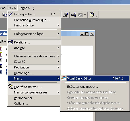 lancer Visual Basic Editor sous access